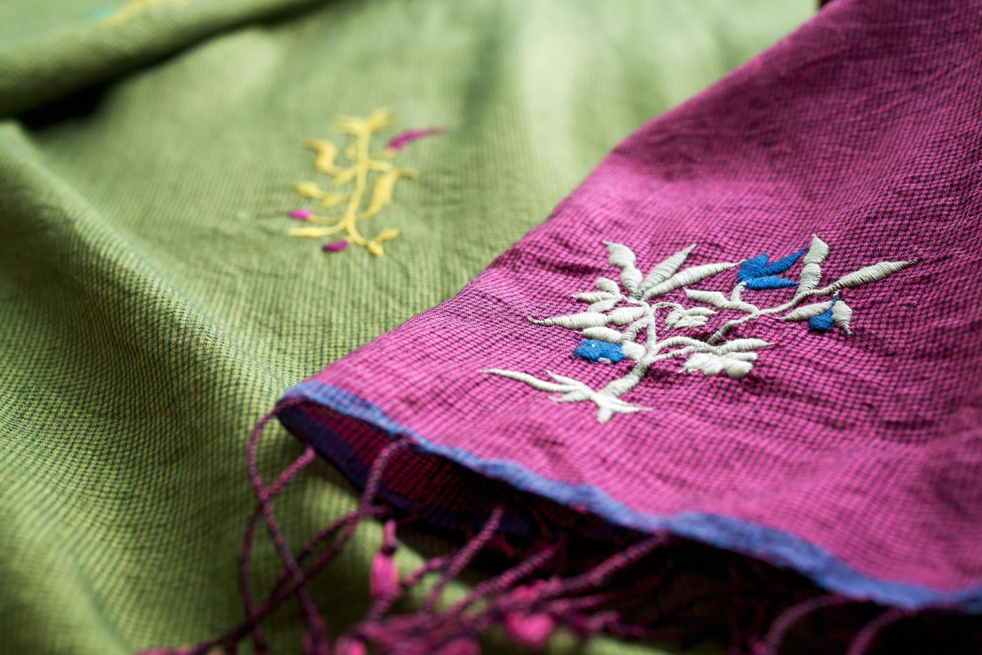 Silk-Cotton Embroidered Scarf