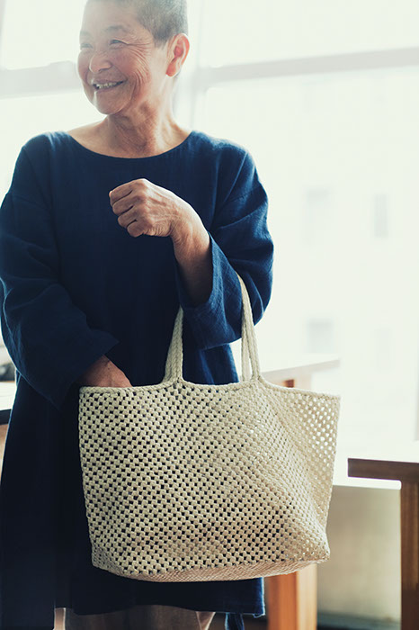 Tote Bag Weaved of Goat Leather