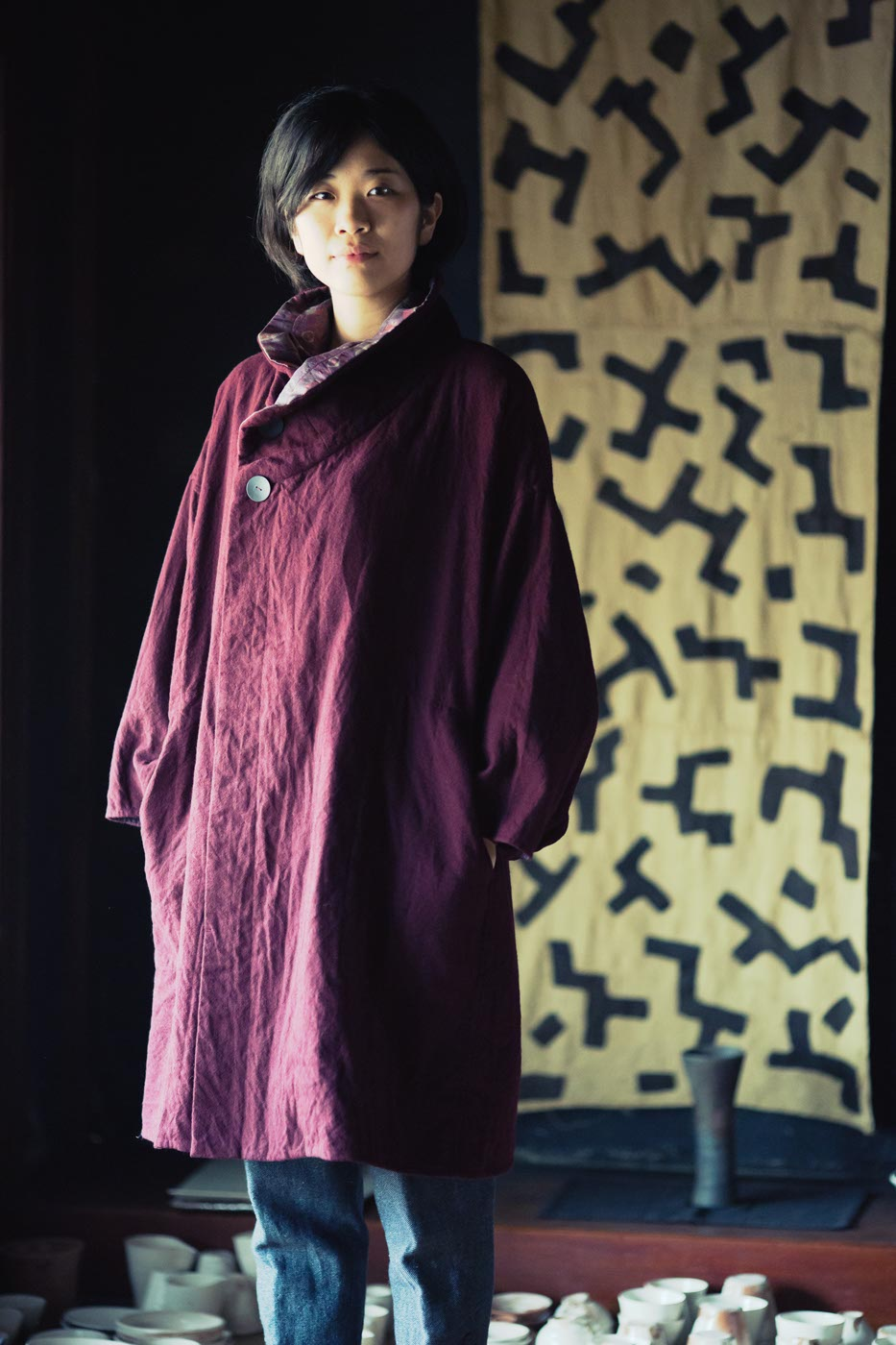 Coat Made of Tussah Silk and Wool