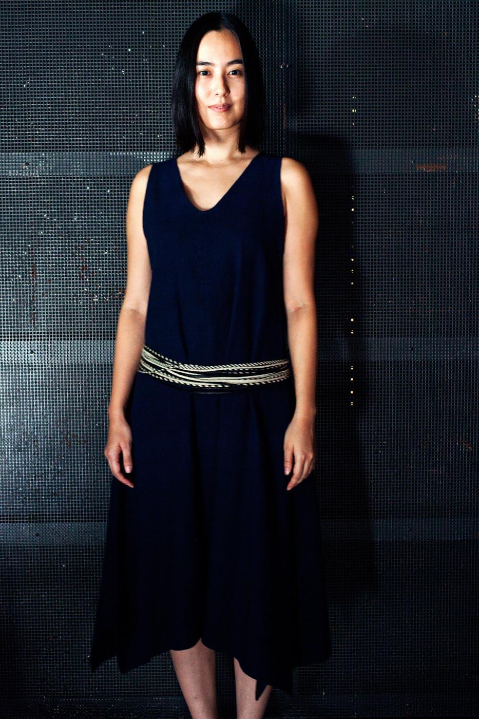 jurgen lehl Dress Made of Linen and Cotton with Plaited Belt